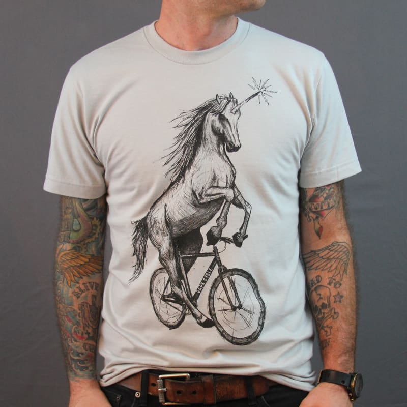 Unicorn on a Bike Mens T-Shirt - Silver / XS - Unisex Tees