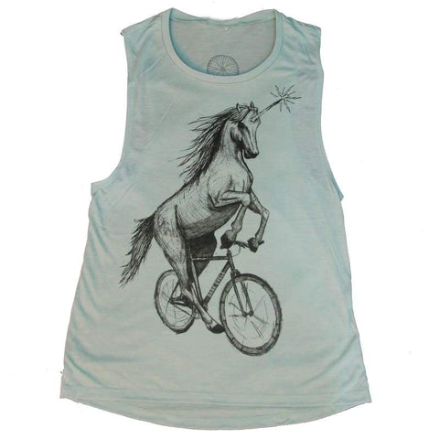 Unicorn on a Bike Women's Muscle Tank Top