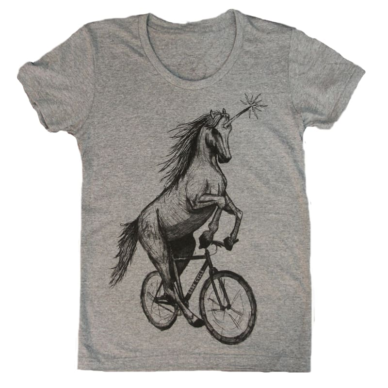 Unicorn on a Bike Womens T-Shirt - Tri-Grey / S - Ladies Tees