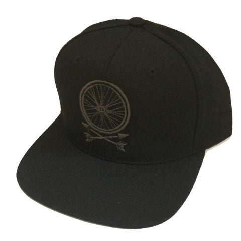 Wheel and Arrows Snapback Hat all black