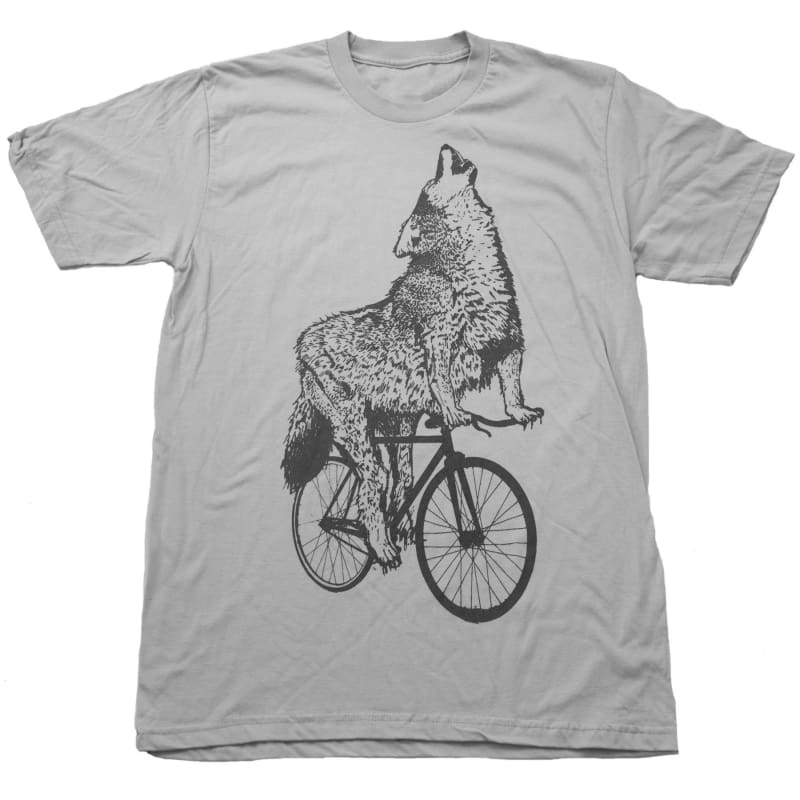 Wolf on a Bicycle Mens T-Shirt - Unisex/Mens Tee / Silver / XS