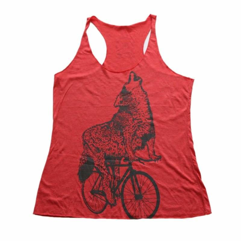 Wolf on a Bicycle Womens Racerback Tank Top - Womens Racerback Tank / Red TriBlend / S