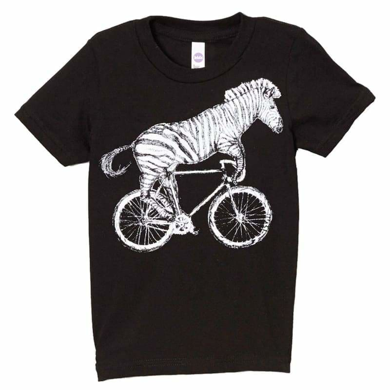 Zebra on a Bicycle Kids T-Shirt - Kids / 2 / Black - Unisex Tees