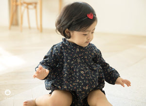 Navy Small Flower Romper (3-24 mths)