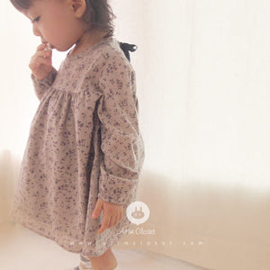 Violet Flower Cotton Dress (1-4yrs old)
