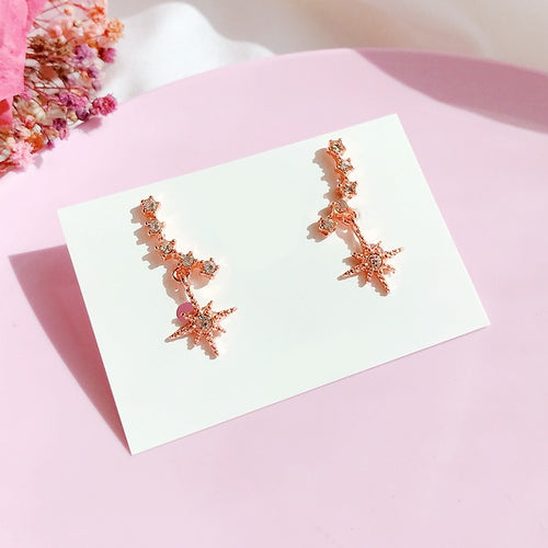 Cubic Leaf Drop Earrings (Handmade in Korea)