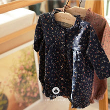 Load image into Gallery viewer, Navy Small Flower Romper (3-24 mths)