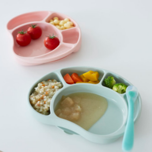 Silicone Food Tray Palatte - with lid & suction base (Made in Korea)