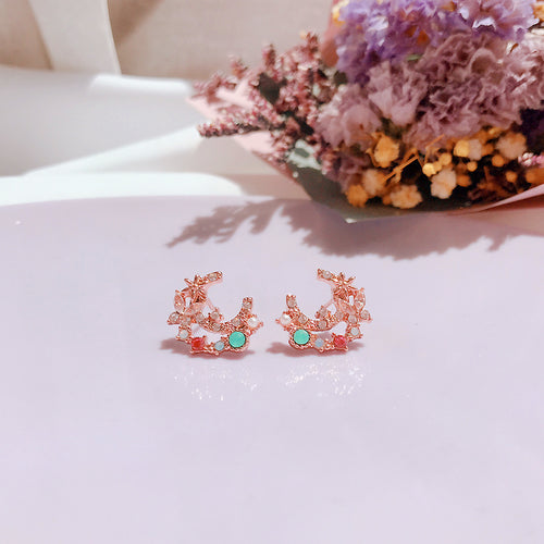 Cubic Crescent Earrings (Handmade in Korea)