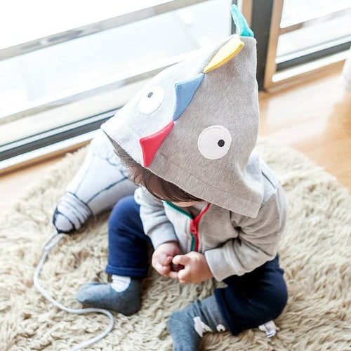 Grey Dinosaur Zipped Hoody Jacket (3-18mths)