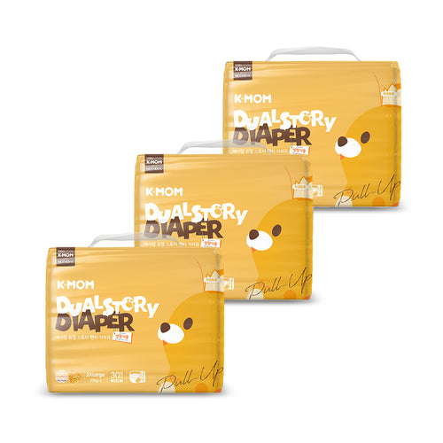 K-Mom Dual Story Diapers/Nappies Pants Size XXL 15kg and up - 3 packs (90pcs)