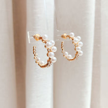 Load image into Gallery viewer, Lily of Pearl Ring Earrings (Handmade in Korea)