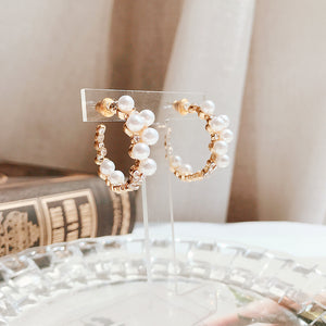 Lily of Pearl Ring Earrings (Handmade in Korea)