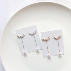 Line Pearl Drop Earrings (Handmade in Korea)