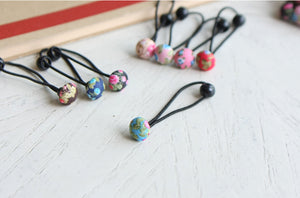 Mini Floral Button Hair Bobbles (Handmade in Korea)