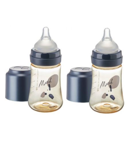 Mother-K PPSU Feeding Bottle 180ml - NAVY (with SS teat) TWIN PACKS