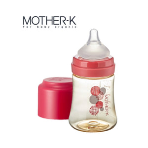 Mother-K PPSU Feeding Bottle 180ml - RED (with SS teat)