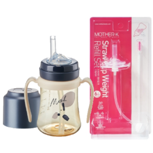 Mother-K PPSU Straw Bottle 200mL (Navy) & Weight Refill Set (with brush)