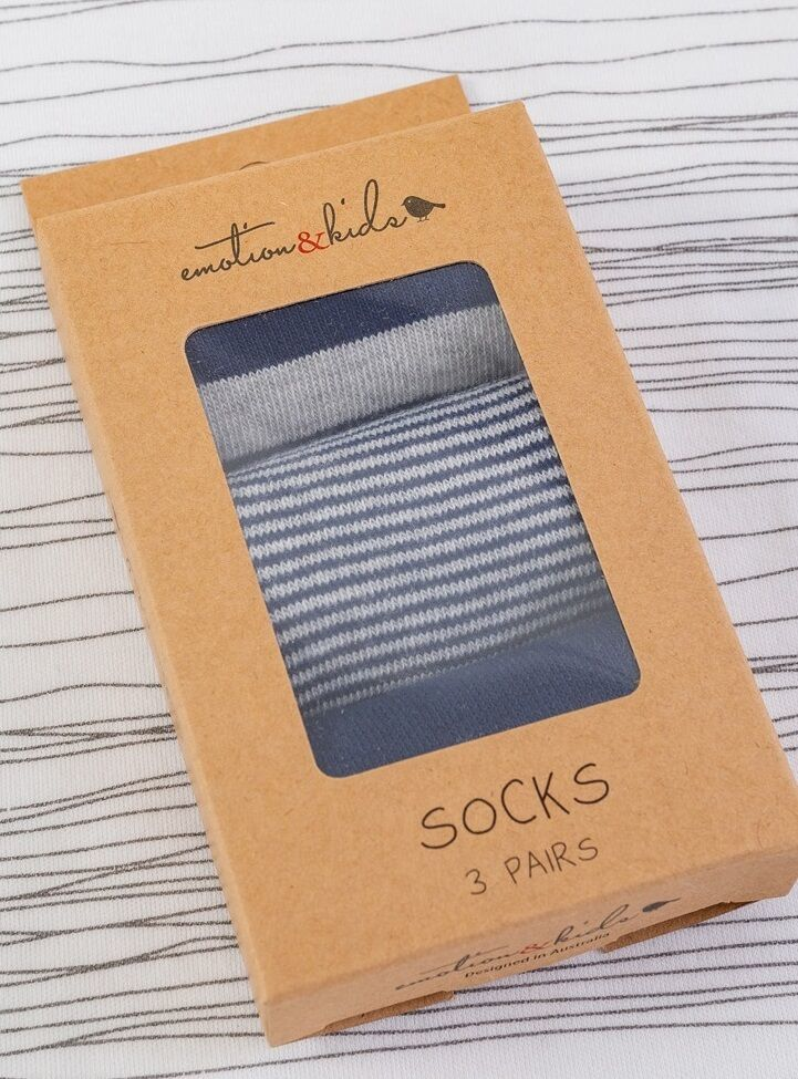 Navy & Grey Striped Socks 3 Pack