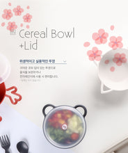 Load image into Gallery viewer, Animal Cereal Bowl Cherry Blossom - Cat (with lid)