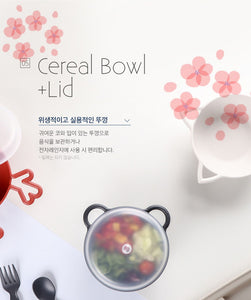 Animal Cereal Bowl Cherry Blossom - Rabbit (with lid)