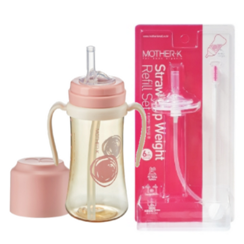 Mother-K PPSU Straw Bottle 300mL (Pink) & Weight Refill Set (with brush)