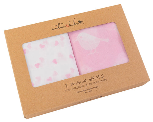Pink Bird & Heart Muslin 2 Packs
