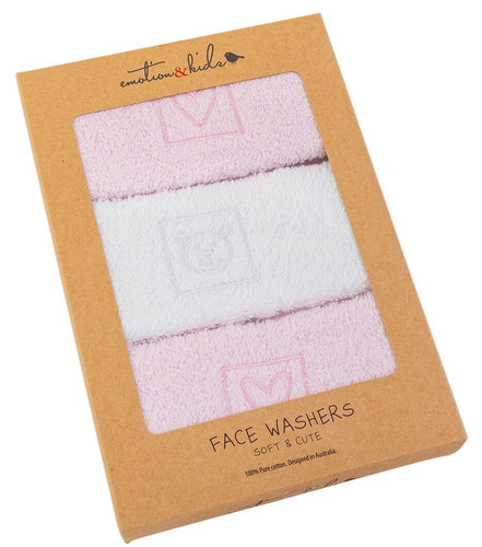 Pink Heart & Teddy 3 Face Washers