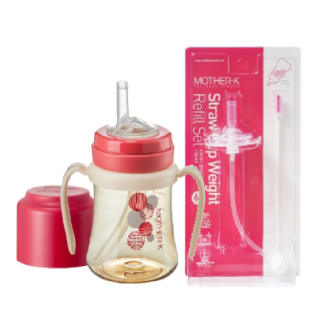 Mother-K PPSU Straw Bottle 200mL (Red) & Weight Refill Set (with brush)