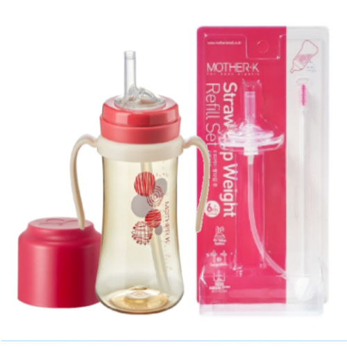 Mother-K PPSU Straw Bottle 300mL (Red) & Weight Refill Set (with brush)