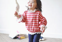 Load image into Gallery viewer, Red Checkered Lace Blouse (6mths-5yrs old)
