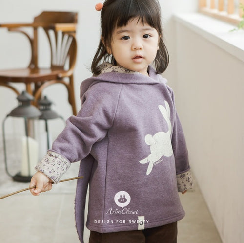 Violet Rabbit Winter Hood (3mths-4yrs old)