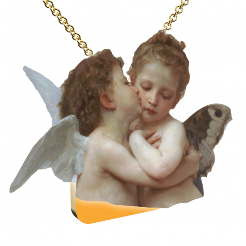 Collana con Ciondolo Placcato Oro Full Angeli