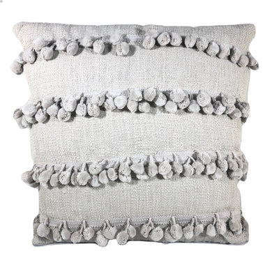 Pillow, Grey with Pom Poms