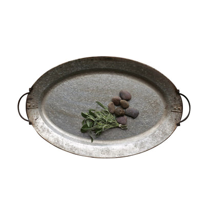 Galvanized Metal Tray, oval