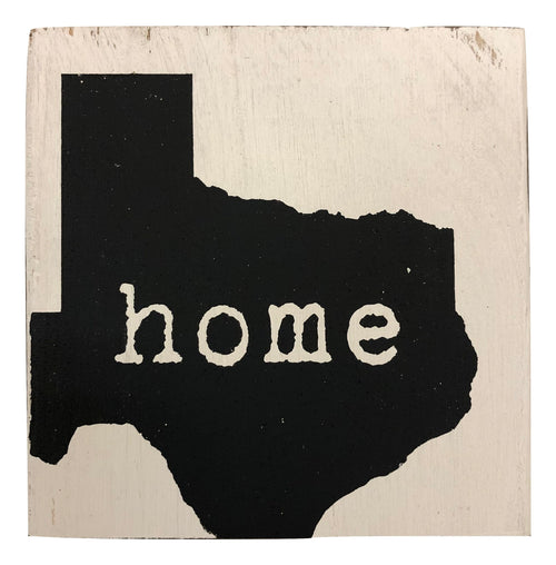 "Wood Block ""Home"" Texas - Sm"