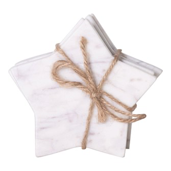 Marble Star Coasters, white