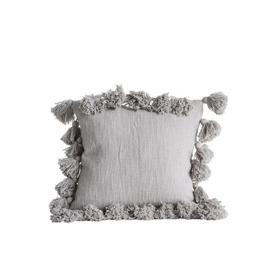 Pillow, Grey with Tassels