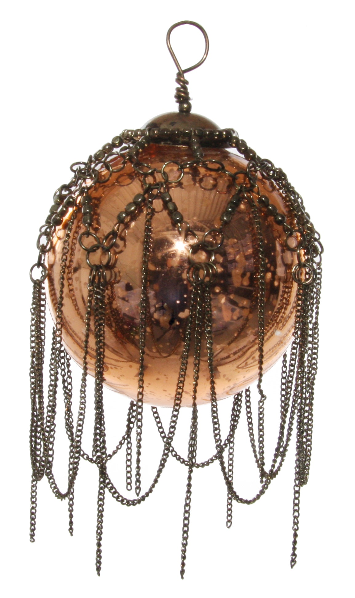 Glass Ball with Chain, antique copper