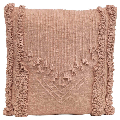Pillow - Embroidered Cotton w Fringes - Dark Pink
