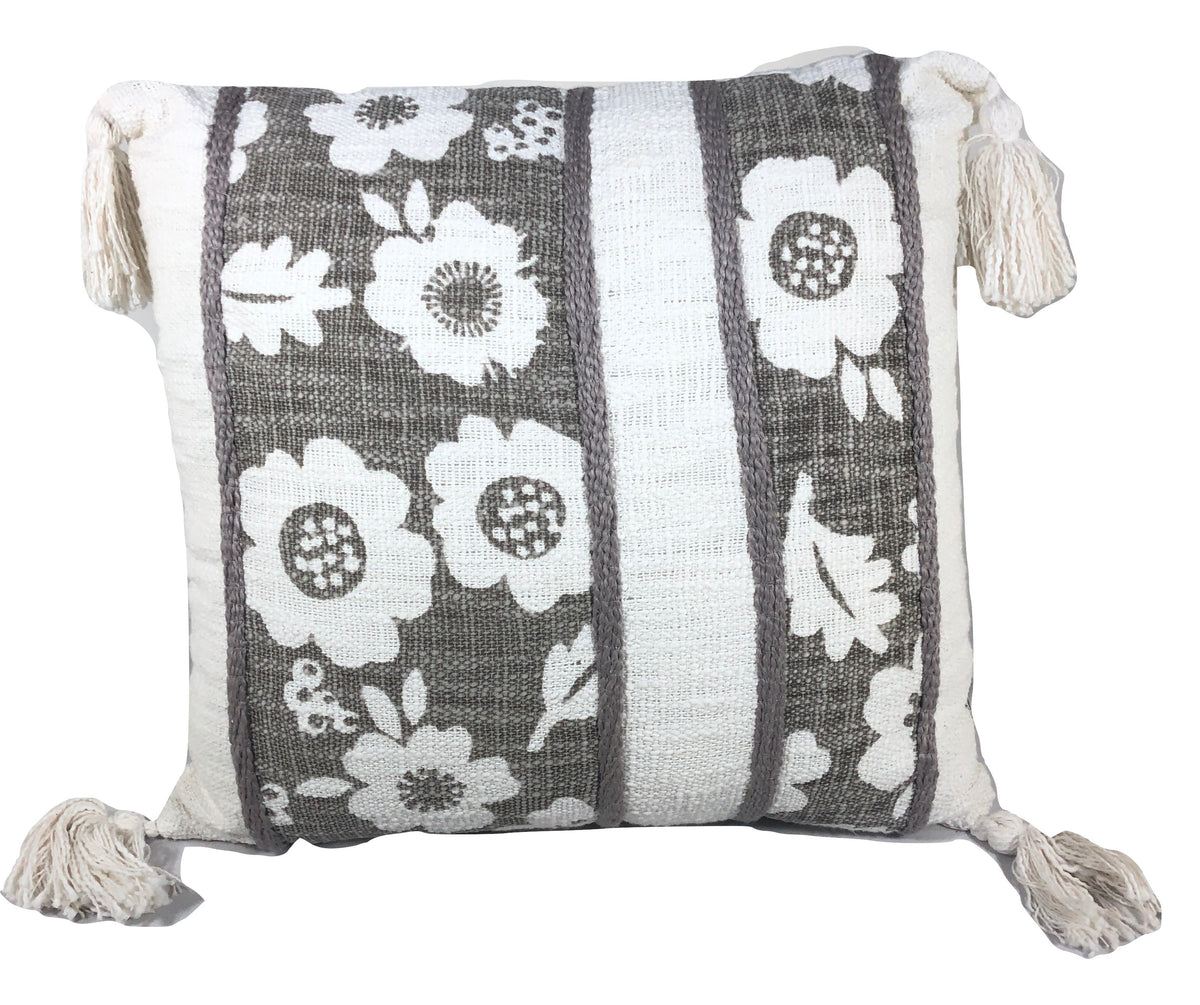 Pillow, White/Grey Floral