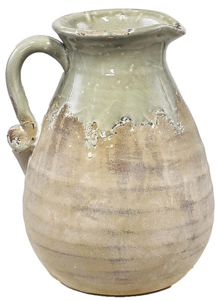 Hand Thrown Pitcher with Handle, green