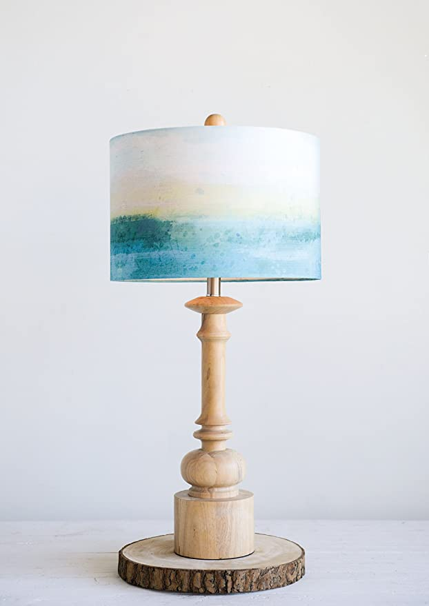 Wood Table Lamp with Blueish shade