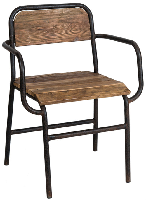 reclaimed wood and metal capt chair