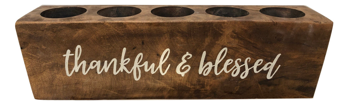 "5 Hole Sugar Mold - ""Thankful & Blessed"""
