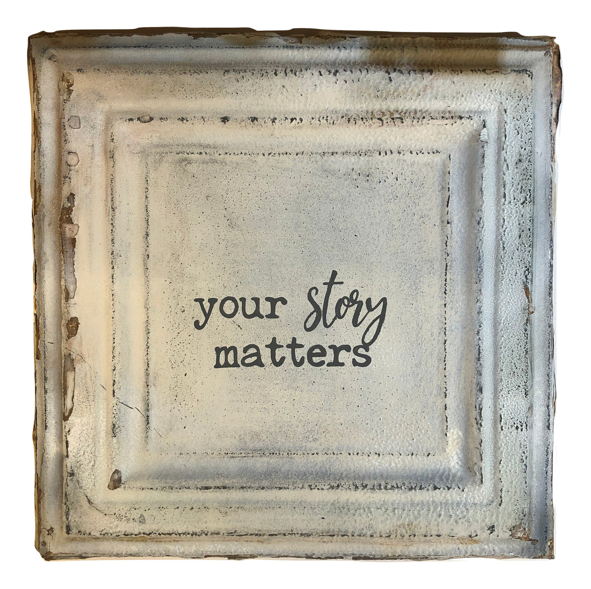 "Vintage Square Tin (med) - ""Your Story Matters"""