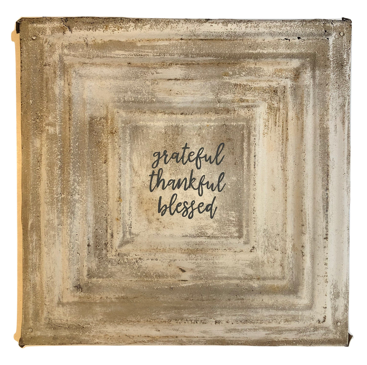 "Vintage Square Tin (med) - ""Grateful Thankful Blessed"""