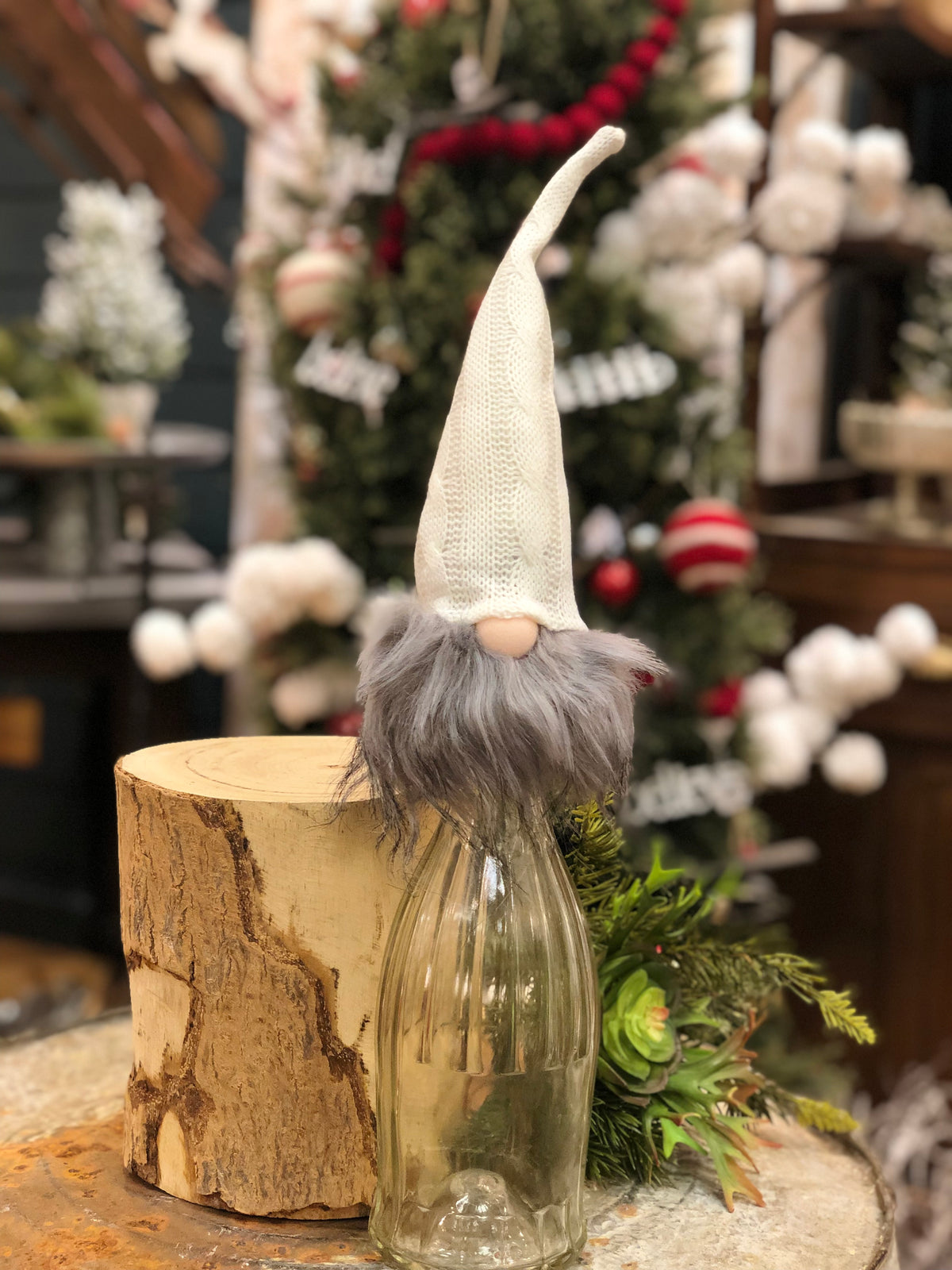 Gnome Bottle Topper w/ Cream Hat