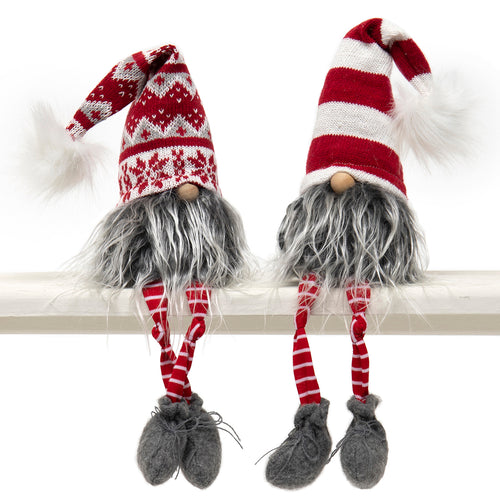 Dangle Legs Gnome with Red & White Striped Hat