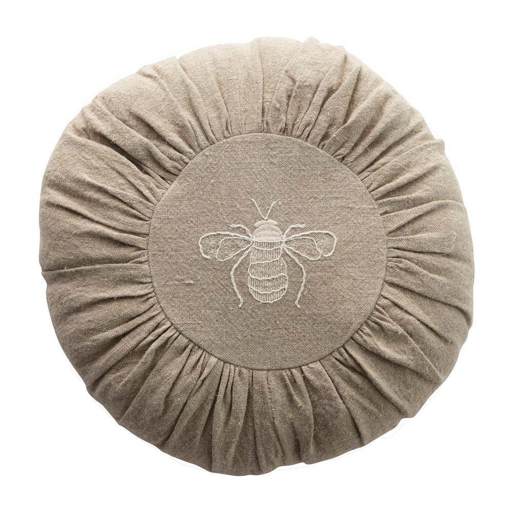 Round Linen Bee Pillow
